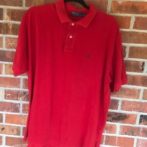 Polo Ralph Lauren red XL polo shirt! Worn! Patina!